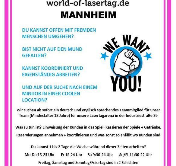 Lasertag Minijob bei World of Lasertag Mannheim
