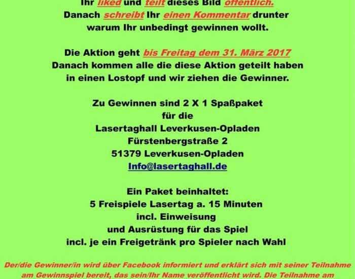 Lasertag Leverkusen Gewinnspiel