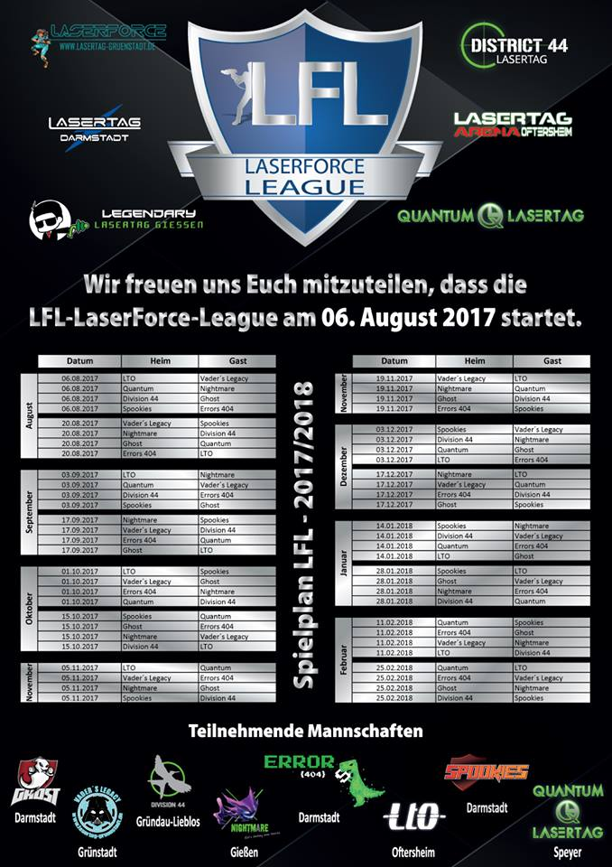 LFL-LaserForce-League Spielplan Lasertagfans